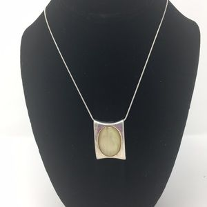Silver like Rectangle pendant with yellow Stone